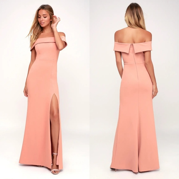 Lulu's Dresses & Skirts - Lulu's Aveline Off-the-Shoulder Maxi Dress